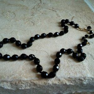 Vintage Australian Black Crystal Bead Necklace